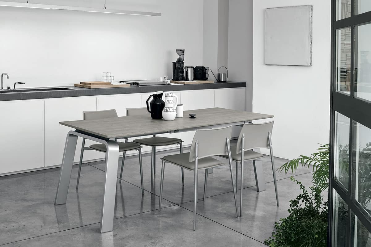 Mesa extensible, marco de aluminio, tapa de gres porcelánico   IDFdesign