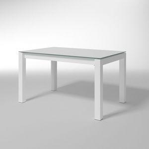 Doris, Mesa rectangular con tapa de cristal, para cocinas modernas