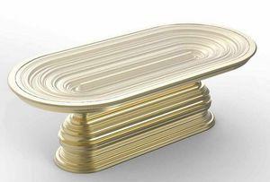 Frames Art. T07, Mesa ovalada con base decorativa dorada