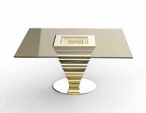 Frames Art. T13, Elegante mesa con sobre de cristal bronceado