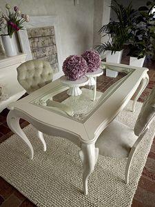 Giulietta mesa, Mesa de comedor en madera blanca, con tapa de cristal