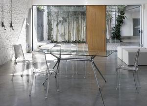 Metropolis 180x90cm, Mesa de diseño rectangular en metal con tapa de cristal