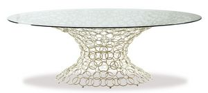Mondrian, Mesa ovalada, base de metal, tapa de cristal