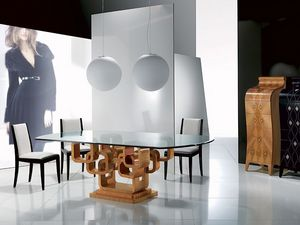 TA34 Glamour, Mesa del comedor moderna, tapa de cristal, con incrustaciones