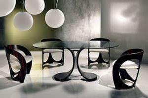 TA43 Mistral mesa, Mesa de comedor con tapa de cristal, base de metal cromado