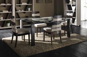 Tavolo cross, Mesa de comedor con tapa de cristal, estilo étnico