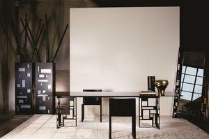 Velasca rectangular, Mesa de metal moderno, con tapa de cristal, ideal para comedor