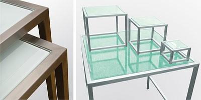 Steel & Style - Buffet, Mesa de acero inoxidable con tapa de cristal, varias formas disponibles