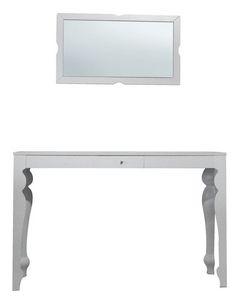 TA01, Mesa de haya con la tapa de chapa de madera, espejo de madera