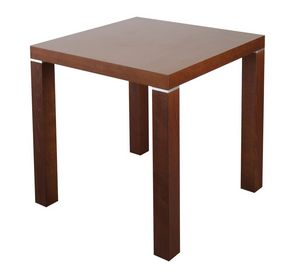 TA09, Mesa cuadrada de madera con insertos metálicos