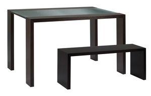 TA10, Mesa con tapa de cristal y banco de madera