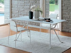 Domino, Mesa rectangular con vidrio ideal para la cocina lineal