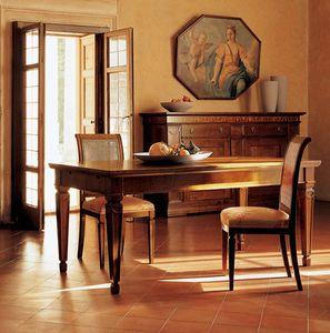 Ca' Venier Art. CV09/A, Mesa de comedor clásica, en nogal macizo