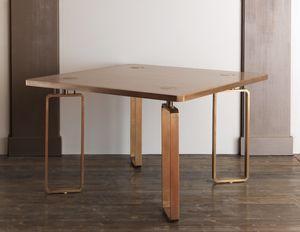 DOMINO HF2076TA, Mesa de comedor de madera con adornos de latón