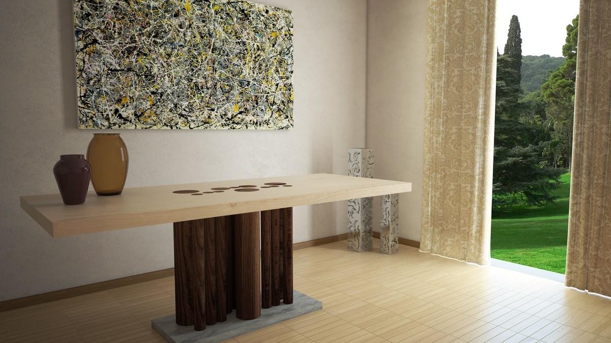 Mesa de comedor rectangular en madera, con base cubierta de piedra ...