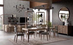 Sunrise mesa, Mesa de comedor de madera con diseño minimalista