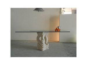 Australe, Mesa de comedor rectangular con tapa en vidrio