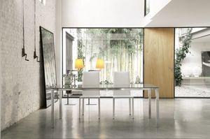 dl50 new york, Mesa de comedor rectangular con marco de aluminio