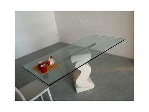 Flex tab, Mesa con base de piedra tallada y la tapa en vidrio