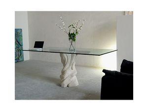 Mezzaluna cherry, Mesa con tapa de cristal y estructura de piedra