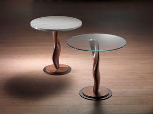 TL42 Pistillo mesa pequeña, Mesa de madera maciza con tapa de cristal, para salas de estar