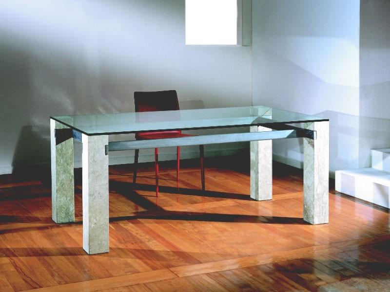 Ulisse, Mesa rectangular con estructura de piedra, para el hogar y la oficina