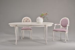 BRIANZOLO mesa 8498T, Mesa ovalada decorada, en madera de haya, para cocinas clásicas