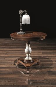 DUCA mesa 8680T, Mesa redonda en madera, con columna decorada, hoteles