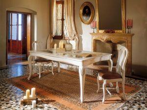 MALENE table 8124T, Mesa de estilo Gustavo, estructura de madera y tapa de cristal