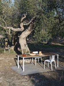 Be-Easy slatted table, Mesas con tapa en madera de teca