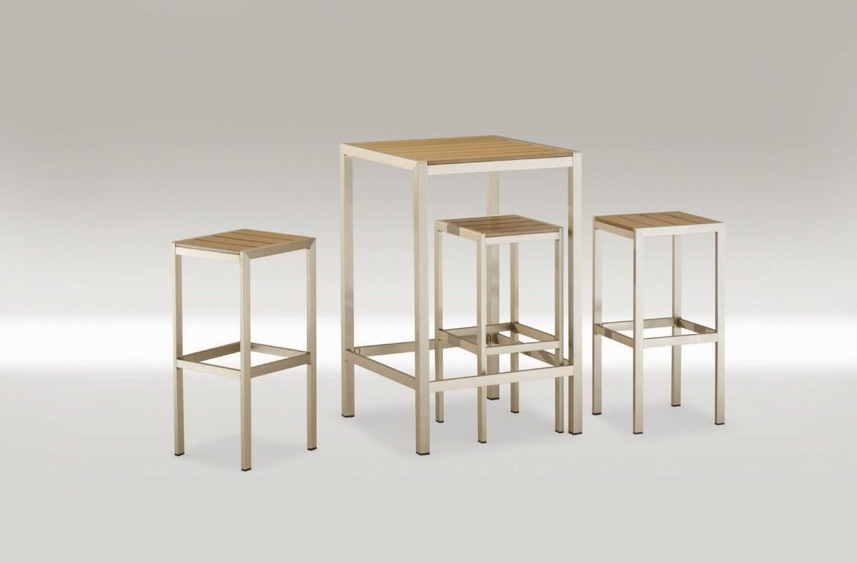 FT 708, Alta mesa cuadrada, de aluminio y techno-madera