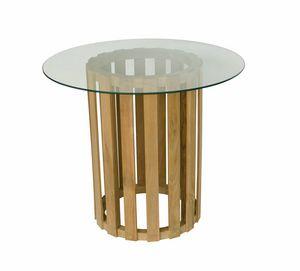 Georgetown 0483, Mesa de comedor redonda de vidrio con una sola pierna