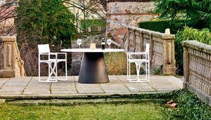 Loulou 70 large, Mesa al aire libre con tapa redonda, también en madera