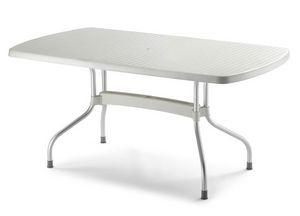 Olimpo rectangular, Mesa de jardín en aluminio y polipropileno, que descansa encima