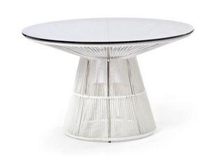 Tibidabo mesa, Mesa redonda en acero, con tapa de cristal, para el aire libre