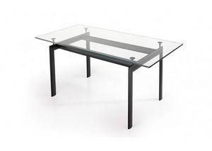 529, Mesa rectangular con tapa de cristal
