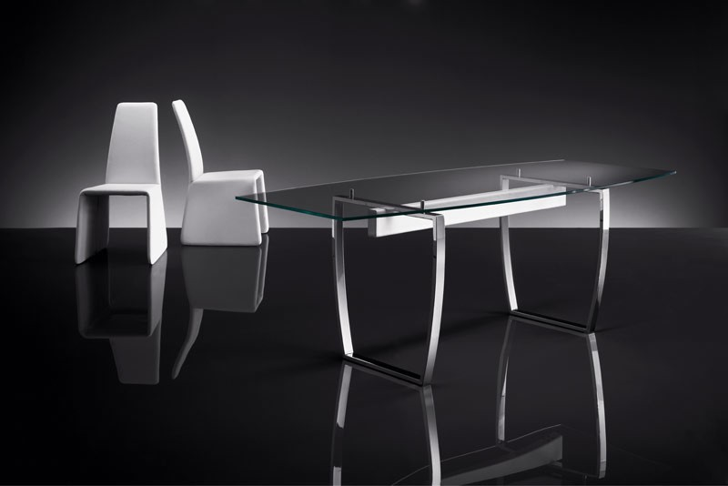 ART. 258/F DIAMOND TABLE, Tablas con base de metal, tapa de cristal transparente