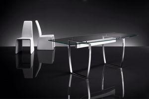 ART. 258/F DIAMOND TABLE, Tablas con base de metal, tapa de cristal transparente