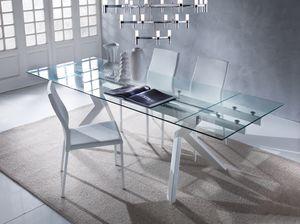 Art. 674 Tokio, Elegante mesa con tapa de cristal, extensible