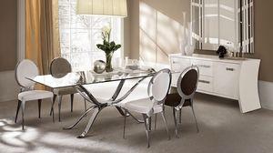 Atlante tavolo, Mesa en hierro pulido a mano, tapa de cristal