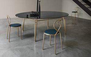 Botany Dining Table, Mesa de comedor con tapa de cristal