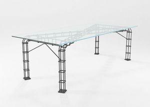 Incontro, Mesa con tapa de cristal y estructura de varilla completa
