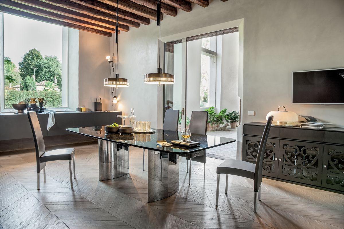 MANHATTAN, Mesa extensible o fija, con tapa de cristal, madera, mármol o cerámica.