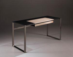 Desk roble y cuero, Escritorio de diseño, con tapa de madera y cuero