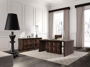 Wall Street mesa de oficina, Mesa de pelo insertado para puestos ejecutivos, en madera de roble
