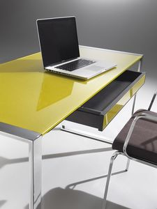 Desk, Escritorio con estructura de acero, tapa de cristal