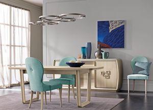 Amarcord Art. AM009/G, Mesa de comedor extensible de madera