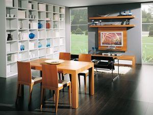 Complementos Mesa 08, Mesa de madera extensible, para comedor y salas de estar