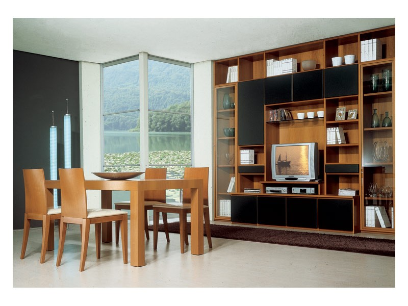 Living room 2, Mesa de madera con extensión, estantería modular con soporte tv, para el equipamiento de la sala de estar