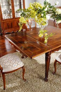 OLIMPIA B / Rectangular table, Mesa clásica en madera tallada, de Comedor